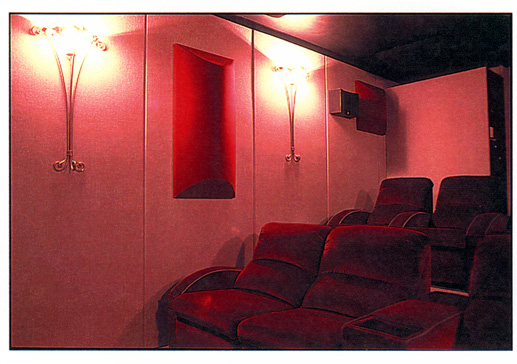 Polycylindrical diffuser in a home theater.